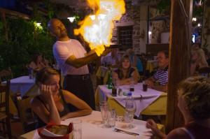 Nikos serving, Tatso Mondo, Crete 2012